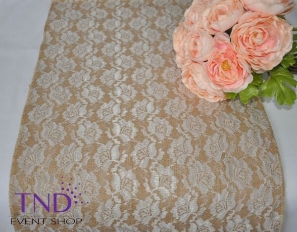 """14""""x108"""" LACE BURLAP TABLE RUNNER FOR RUSTIC WEDDING"""
