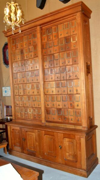 Large Vintage Oak Library Cabinet with 84 Cubbies – 9-12 Feet Tall