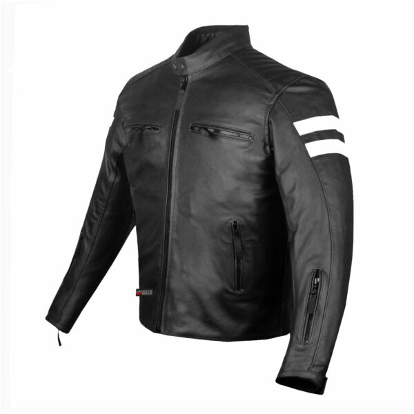 Mens Track Biker Motorcycle Leather CE Armor Moto Riding Racer Black Jacket $97.99