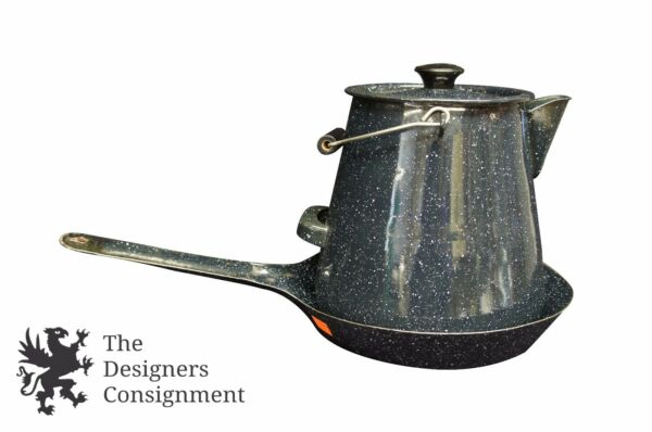 Graniteware Enamel Kettle Coffee Pot & Frying Pan Cookware Camping Navy Speckled