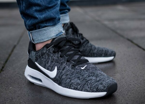 New NIKE Air Max Modern Flyknit Men's Sneakers black/white/gray  size 8