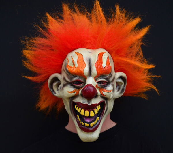 Halloween Clown Mask Latex Creepy Evil Scary costume FLAMED CLOWN