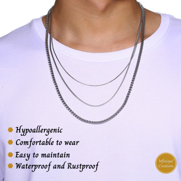 Men Women Stainless Steel Silver Box Chain Necklace and Bracelet 1mm-4mm 7