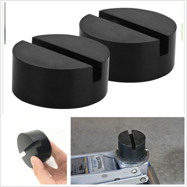 2pc Universal Slotted Frame Rail Floor Jack Guard Adapter Lift Rubber Pad Black