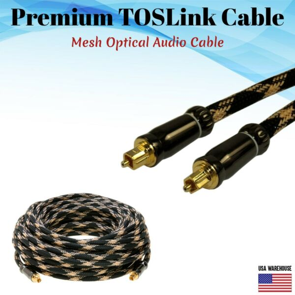 Premium TOSLink Fiber Optical Digital Audio Cable 1.5 3ft 6ft 12ft 25ft 50ft Lot