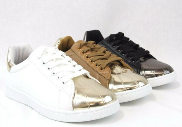 Women Lace Up Shinny Two Tone Fashion New Design Sneakers Comfort Casual Shoes