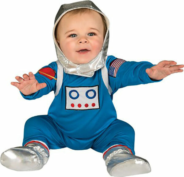 RUBIE#x27;S ASTRONAUT BABY COSTUME BLUE SPACE JUMPSUIT NEW SIZE 6 12 MONTHS
