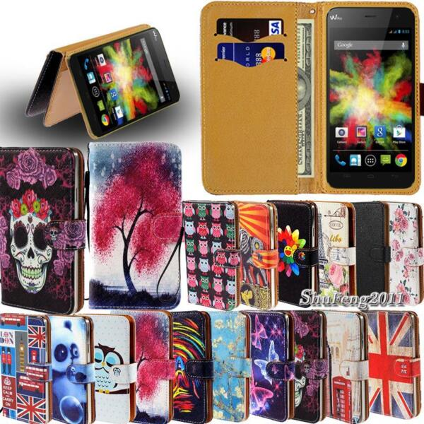 Leather Flip Card Wallet Stand Cover Case For Various Wiko Model SmartPhones $4.49