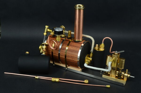 Twin Miniature Live Gas Burner Steam Engine + Boiler + Tank Live Steam