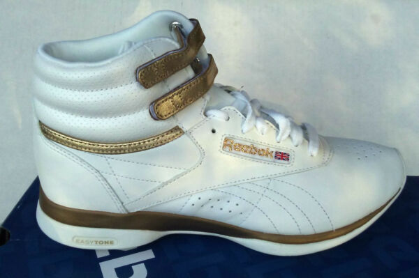 REEBOK CLASSIC aerobic FREESTYLE EASYTONE HIGH TOP white/gold SHOES WOMENS