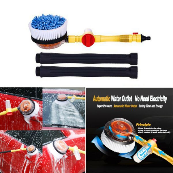 Portable Car Wash Brush Extendable Pole Wash Automatic Rotating Brush Clean Tool