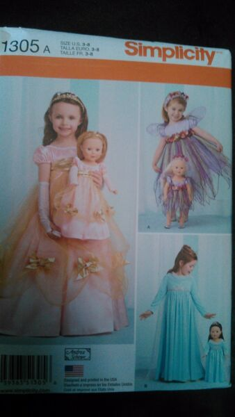 girls costumes and 18quot; doll costumes sewing pattern $5.00