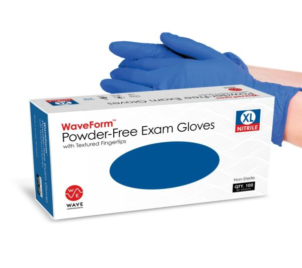 WaveForm 4 Mil Premium Blue Medical Nitrile Exam Latex Free Disposable Gloves