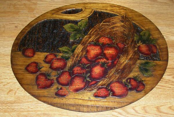 ANTIQUE VINTAGE WILD STRAWBERRIES STRAWBERRY PYROGRAPHY WOOD CARVED ART PAINTING