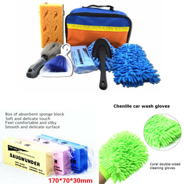 Universal 7 x Car Interior Exterior Brush Sponge Wash Cleaning Cleaner Tool Kit