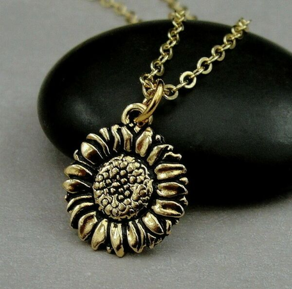 Gold Sunflower Charm Necklace - Spring Flower Daisy Pendant Jewelry NEW