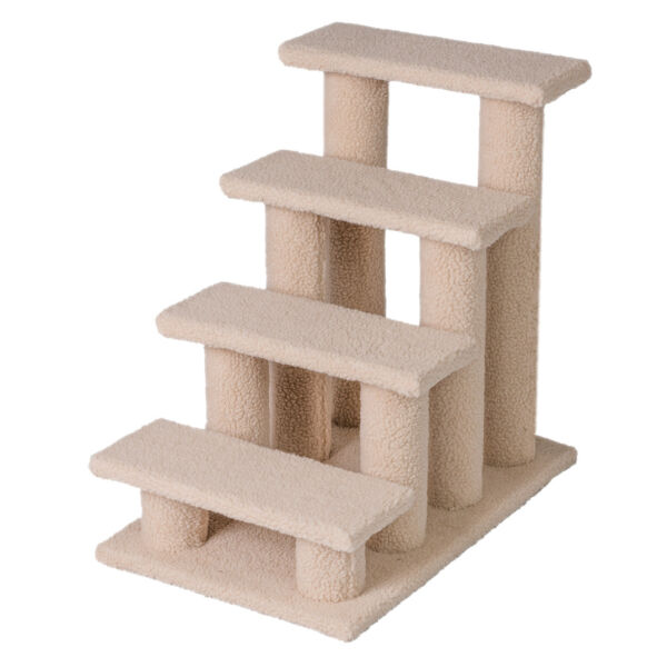 25quot; 4 Steps Pet Stairs Ladder Ramp Scratching Post Cat Tree Climber for Cat Dog