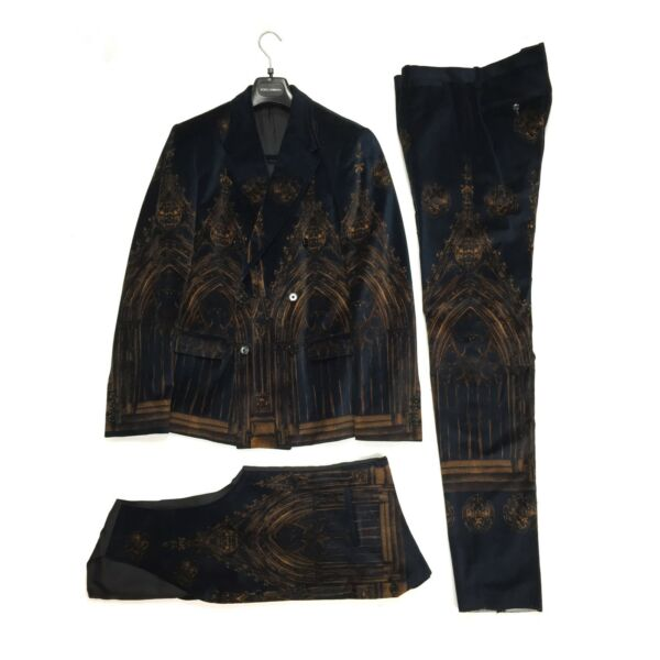 NWT $6.7k Dolce amp; Gabbana RUNWAY Cathedral Print Velvet 3 Piece Suit AUTHENTIC