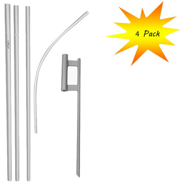 4 pack 16ft Aluminum Advertising Swooper Pole with 30quot; Ground Spike Set