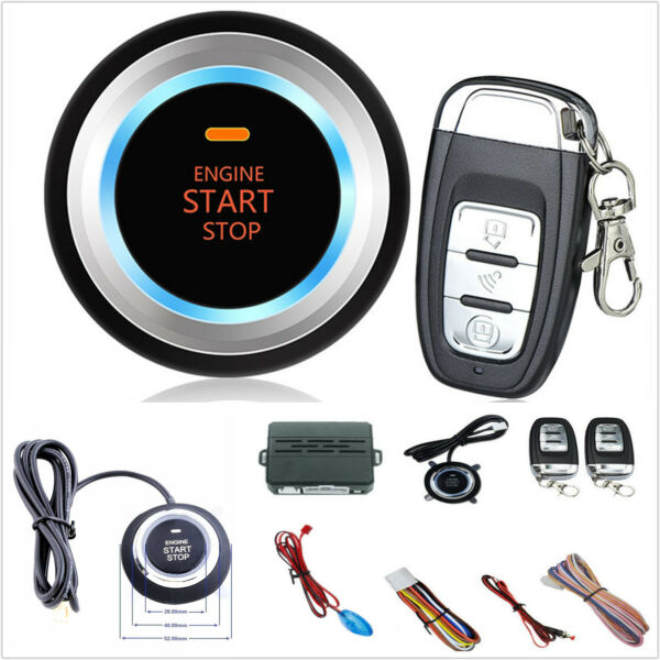 Car SUV Alarm System Security Push Button Remote Engine Start+LED sensor lights