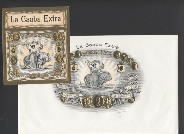 LA6048 SET OF 2 CIGARBOX LABELS  LA CAOBE EXTRA  WOMAN WLION GOLD EMBOSSED