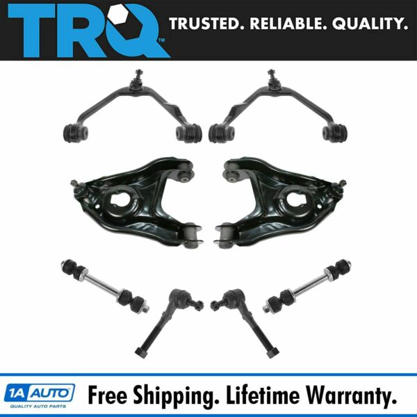 TRQ 8 pc Steering & Suspension Kit Control Arms tie Rods Sway Bar End Links New