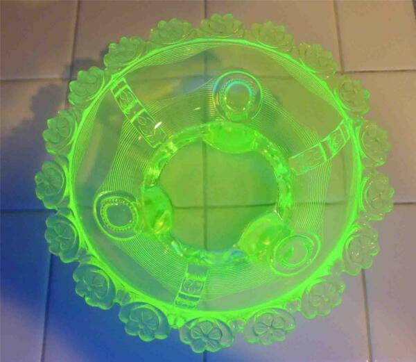 RARE Antique Uranium Green Vaseline Depression Glass Bowl Floral Rim