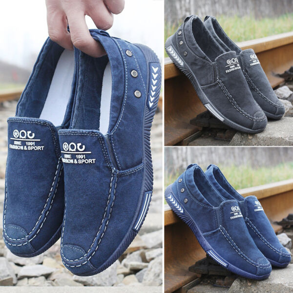 Fashion Men Slip on Loafers Breathable Casual Canvas Shoes Casual Sneakers Cheap