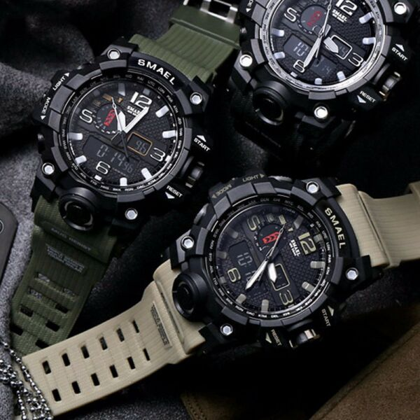 SMAEL Men's Military Sport Wrist Watch Quartz Dual Movement with Analog Digital