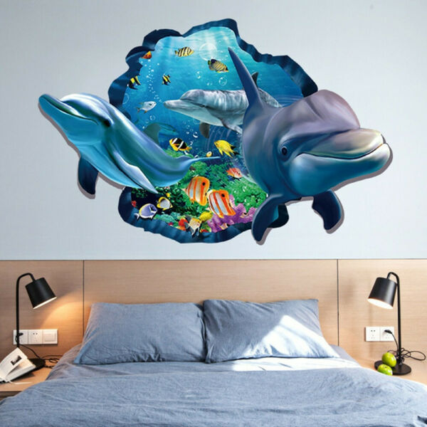 Cartoon 3D Seabed World Dolphin Removable Wall Sticker Kids Bedroom Decor Decals