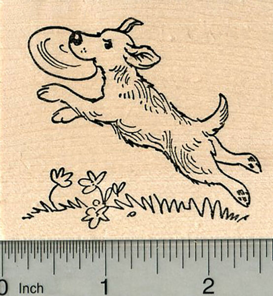Dog Rubber Stamp Playing Frisbee K32606 WM