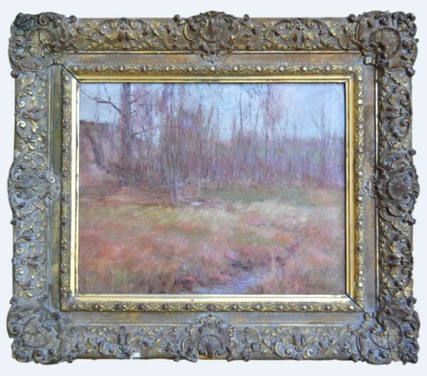 1903 Cullen Yates Signed American Wooded landscape oil canvas painting Bonham's