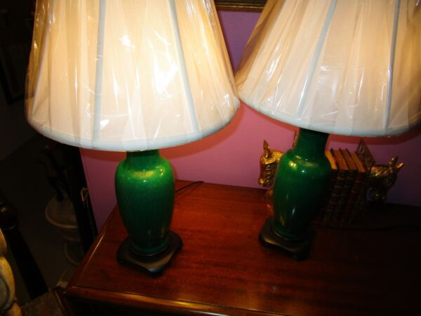 Antique Pair Chinese Export Emerald Green Porcelain Petite Vase Table Lamp c1920
