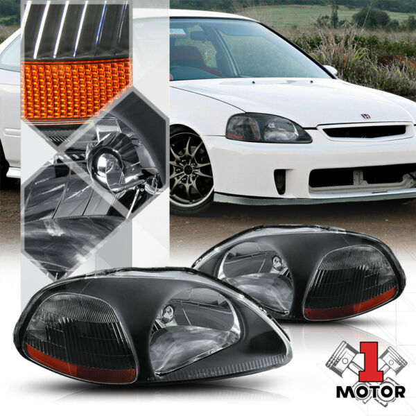 Black Housing Headlight Amber Corner Turn Signal Reflector for 96 98 Honda Civic