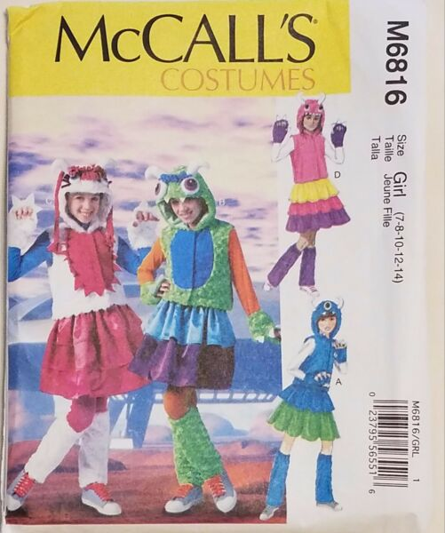 McCall#x27;s Pattern M6816 Girls#x27; Monster Costumes sizes 7 14 New FREE SHIPPING $7.00