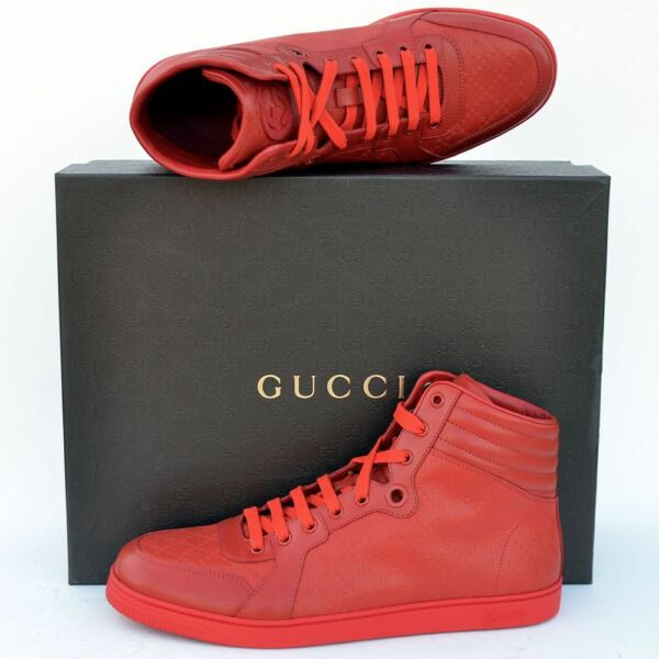 GUCCI New sz 13 G US 13.5 High Top Designer Mens Diamante Sneakers Shoes red