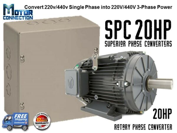 Rotary Phase Converter - 20 HP - Create 3 Phase Power from Single Phase Supply!