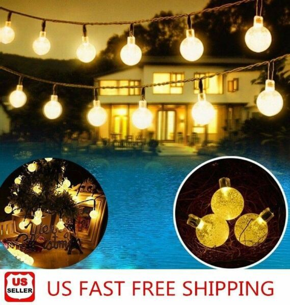 20ft 30 LED Solar String Ball Lights Outdoor Waterproof Warm White Garden Decor