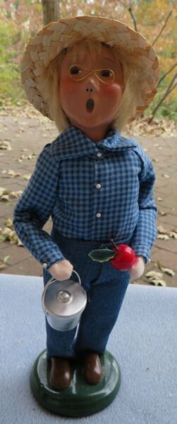 Byers Choice School Boy In Straw Hat Holding Metal Lunch Pail and Apple Mint