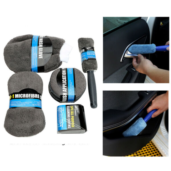 9Pcs Car Wash Cleaning Kit Fiber Towels Polish Pads Wash Foam Wheel Brush Glove