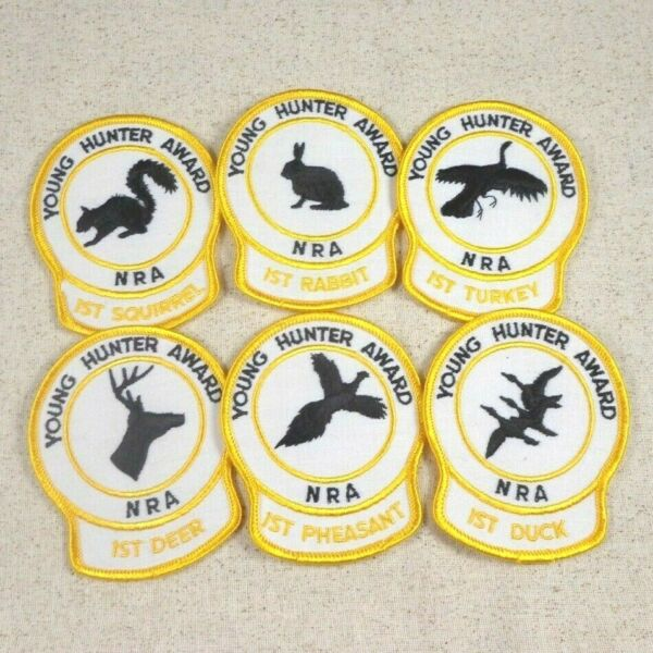 Set of 6 NRA Young Hunter Award Patches 1st Turkey Deer Pheasant Duck Rabbit NEW