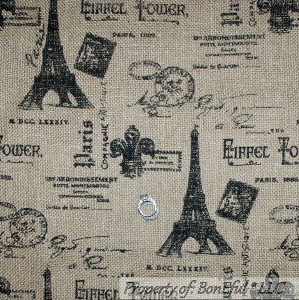 BonEful Fabric FQ Woven BURLAP Brown Black Eiffel Tower Fleur De Lis French Chic