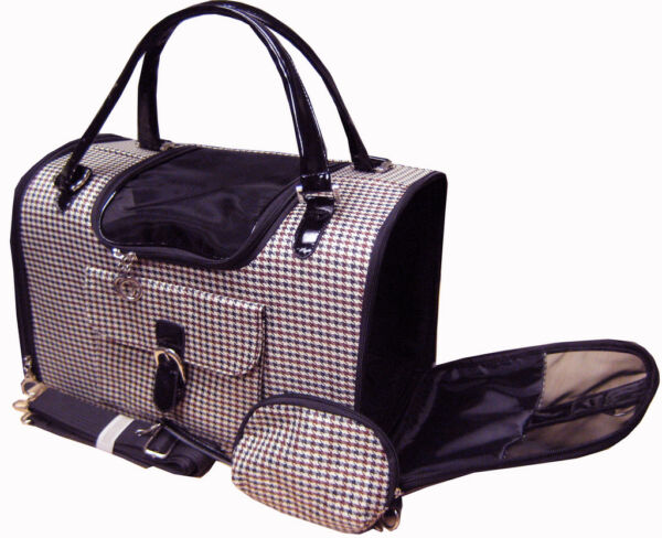 Pet Cat Dog Soft Hounds Tooth Travel Carrier Tote Shoulder Purse With Strap $34.15