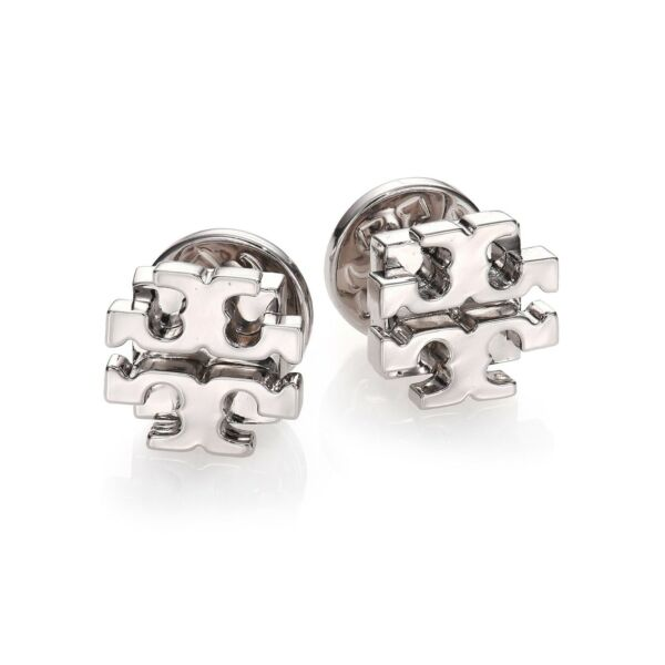 Tory Burch SILVER Classic T Logo Stud Earrings - with Card