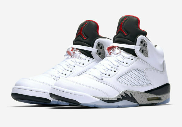 Nike Air Jordan 5 Retro Cement Size 8-13 White University Red Black 136027-104