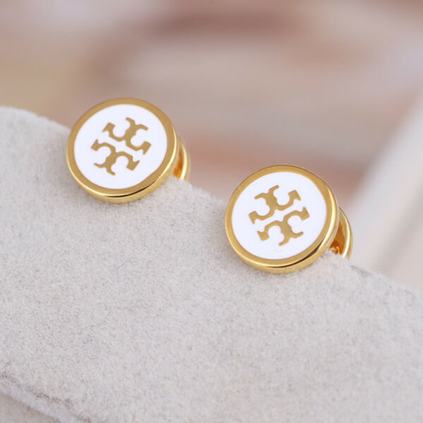 Tory Burch White Lacquered T Logo Gold Stud Earrings on Card w Gift Box
