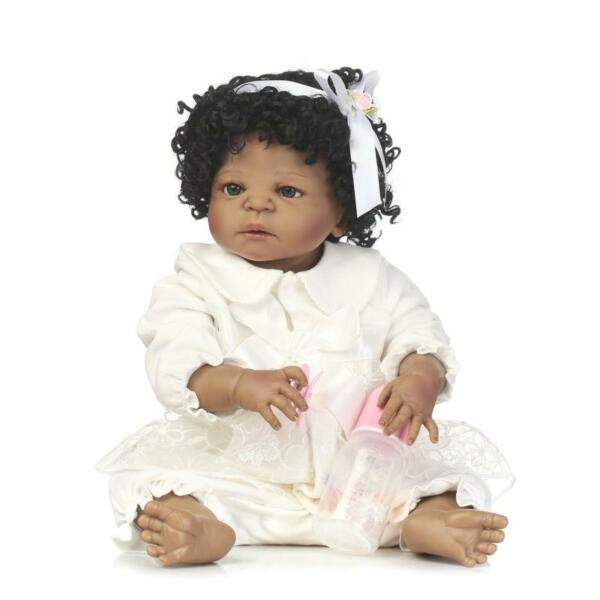 African American Baby Doll Black Girl Full Vinyl Silicone Body Reborn Baby 22