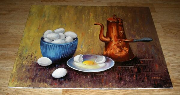 VINTAGE CHICKEN FARM EGGS YOLK COFFEE BEAN GRINDER POT BLUE BOWL OIL PAINTING