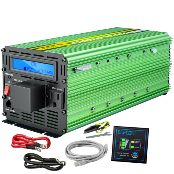 Power Inverter 3000 W 6000 Watt 12V DC to 110V 120V AC LCD Cable Car RV EDECOA