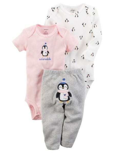 Carter#x27;s 3 Piece Baby Girls outfit Penguins CHECK FOR SIZE